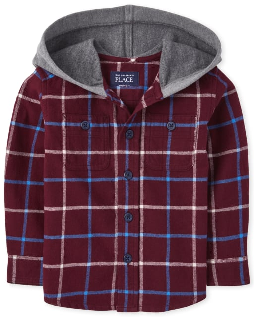 Baby And Toddler Boys Long Sleeve Plaid Button Down Hoodie Top