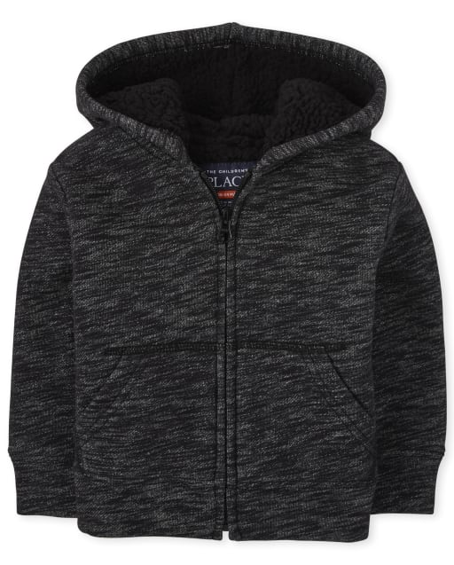 Baby And Toddler Boys Long Sleeve Marled Sherpa Lined Fleece Zip Up Hoodie