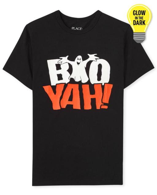 Camiseta con estampado de Halloween Boo Yah de manga corta que brilla en la oscuridad para niños