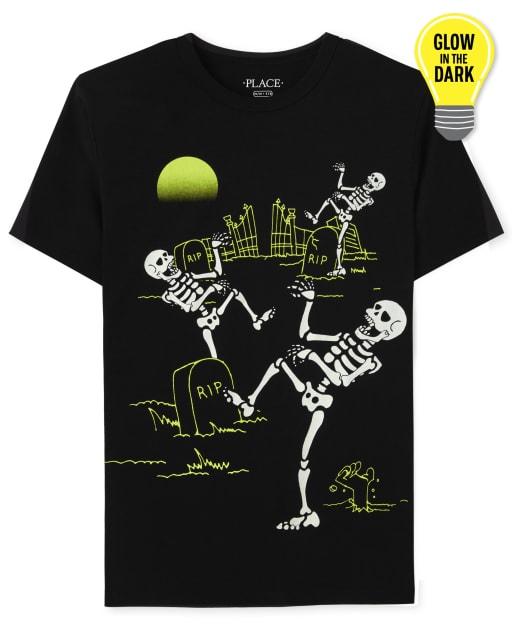Boys Short Sleeve Glow In The Dark Halloween Skeleton Dance Graphic Tee