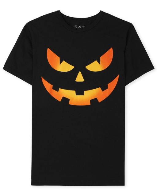 Boys Short Sleeve Halloween Pumpkin Face Graphic Tee