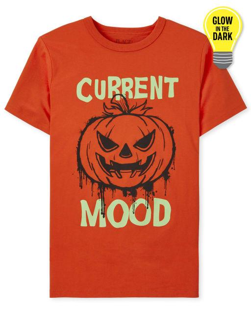 Boys Short Sleeve Glow In The Dark Halloween Mood Graphic Tee