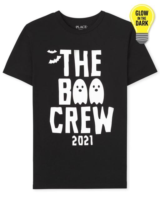 Unisex Kids Matching Family Short Sleeve Glow In The Dark Halloween Boo Crew Graphic Tee