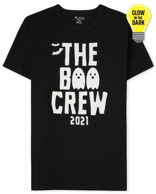 Unisex Adult Matching Family Short Sleeve Glow In The Dark Halloween Boo Crew Graphic Tee