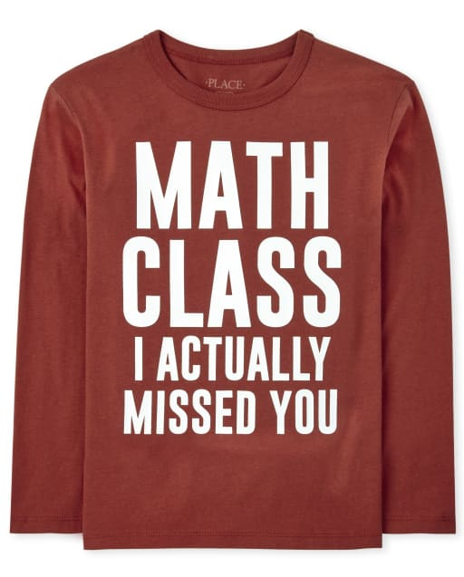 Boys Long Sleeve 'Math Class I Actually Missed You' Graphic Tee