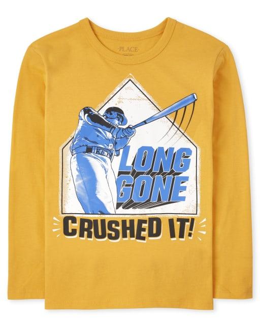 Boys Long Sleeve 'Long Gone Crushed It' Baseball Graphic Tee