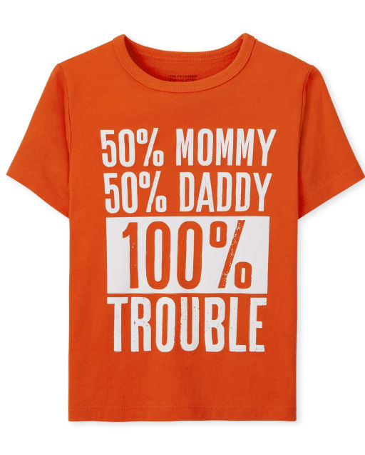 Baby And Toddler Boys Short Sleeve '50% Mommy 50% Daddy 100% Trouble' Graphic Tee