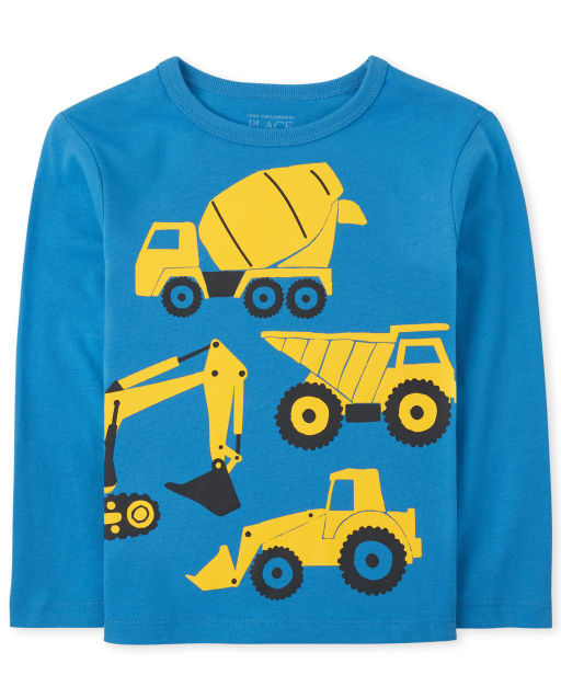 Baby And Toddler Boys Long Sleeve Construction Truck Graphic Tee