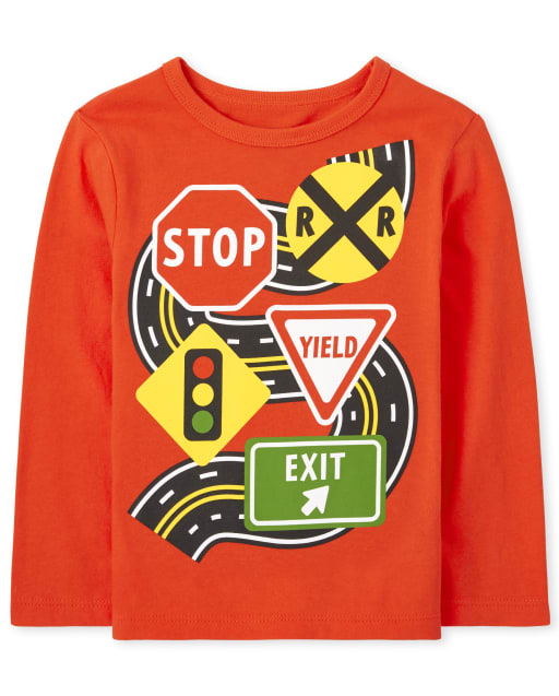 Baby And Toddler Boys Long Sleeve Traffic Graphic Tee