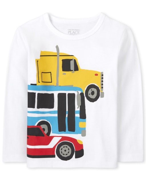 Baby And Toddler Boys Long Sleeve Trucks Graphic Tee