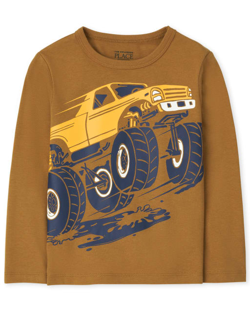 Baby and Toddler Boys Long Sleeve Monster Truck Graphic Tee