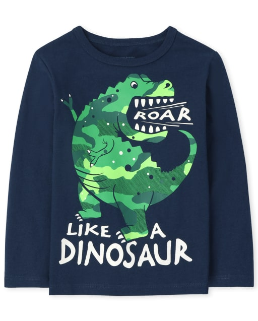 Baby and Toddler Boys Long Sleeve Roar Dino Graphic Tee