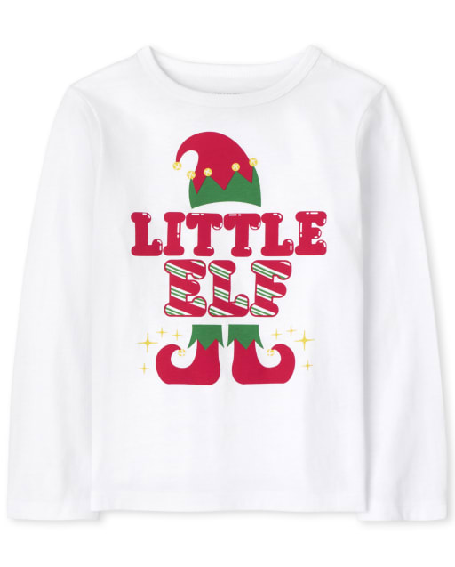 Baby and Toddler Boys Matching Family Long Sleeve Christmas Little Elf Graphic Tee