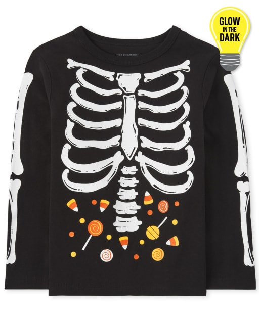 Baby and Toddler Boys Dad And Me Short Sleeve Glow In The Dark Halloween Skeleton Graphic Tee