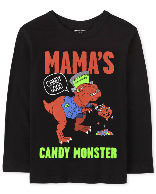Baby and Toddler Boys Long Sleeve Halloween Candy Monster Graphic Tee