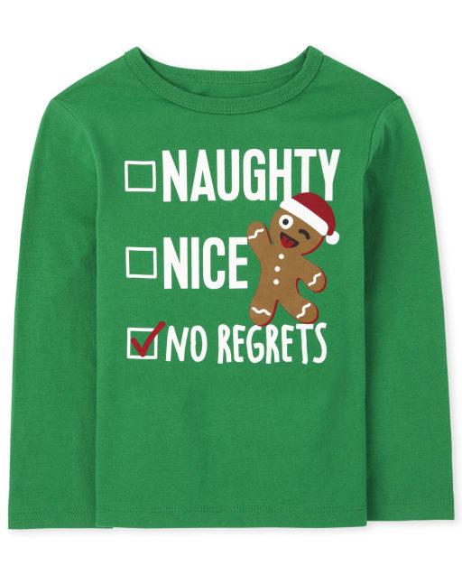 Baby and Toddler Boys Long Sleeve Christmas Nice List Graphic Tee