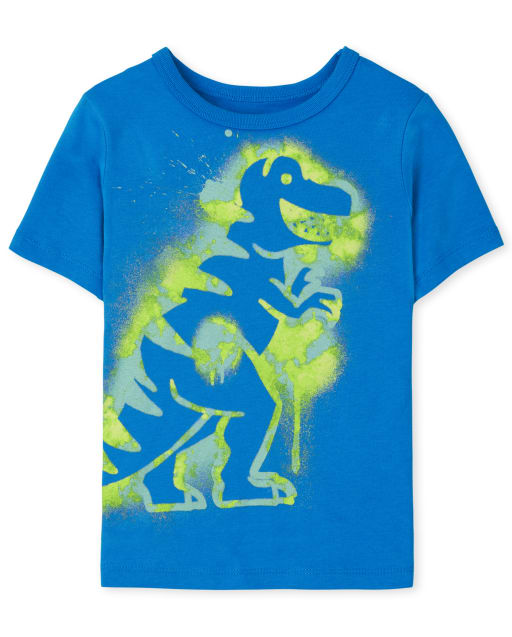 Baby and Toddler Boys Short Sleeve Spray Paint Dino Graphic Tee
