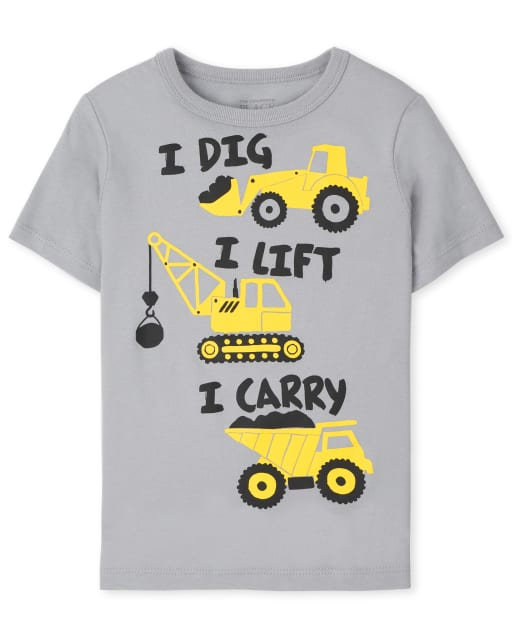 Baby and Toddler Boys Short Sleeve Construction Graphic Tee