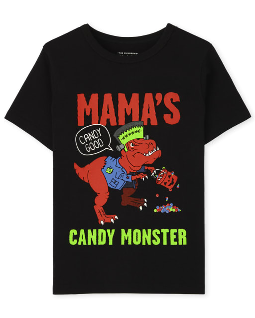 Baby and Toddler Boys Short Sleeve Halloween Candy Monster Graphic Tee