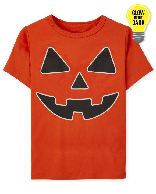 Baby and Toddler Boys Short Sleeve Glow In The Dark Halloween Pumpkin Face Graphic Tee