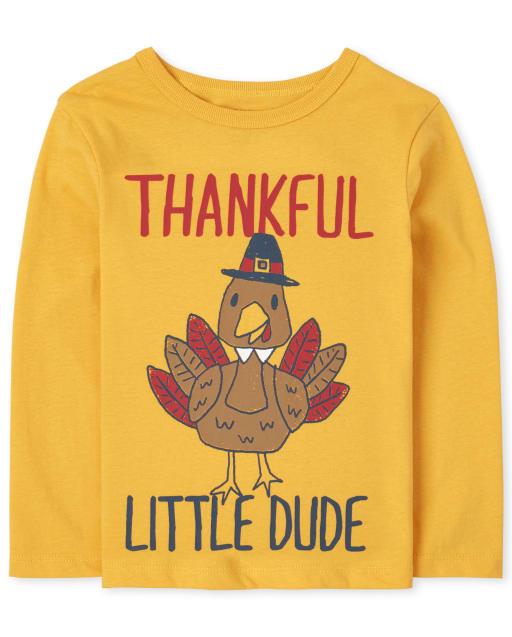 Camiseta estampada Thankful Dude de manga larga para bebés y niños pequeños
