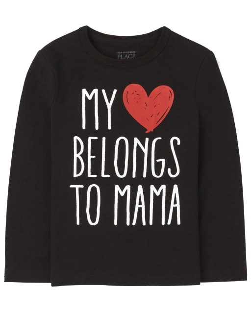 Baby And Toddler Boys Long Sleeve Heart Mama Graphic Tee