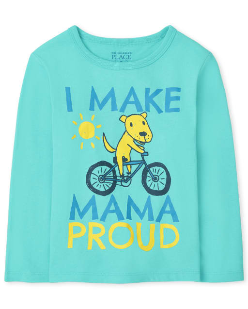 Baby And Toddler Boys Long Sleeve Mama Proud Graphic Tee