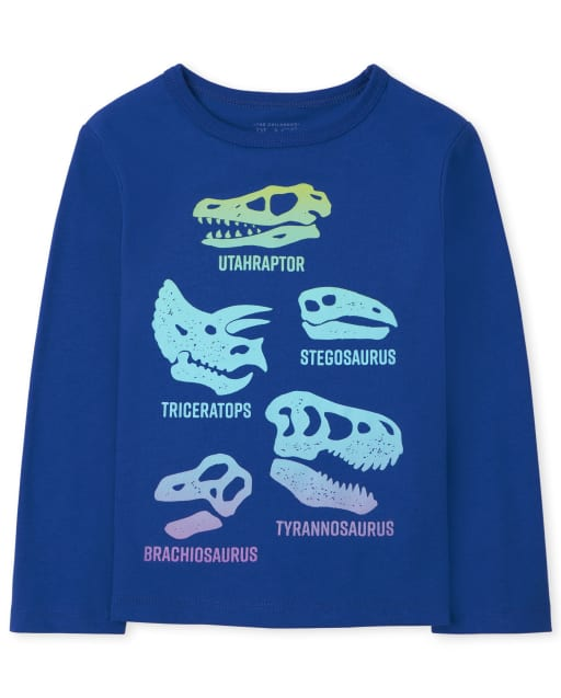 Baby And Toddler Boys Long Sleeve Dino Fossils Graphic Tee