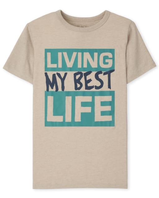Boys Short Sleeve Best Life Graphic Tee