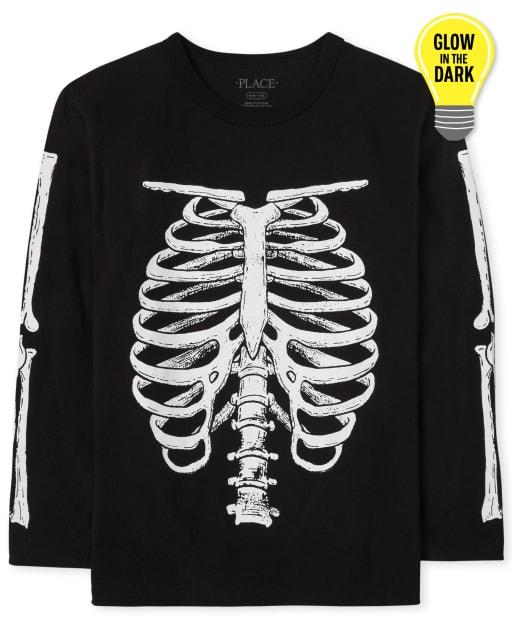 Boys Dad And Me Long Sleeve Glow In The Dark Halloween Skeleton Graphic Tee