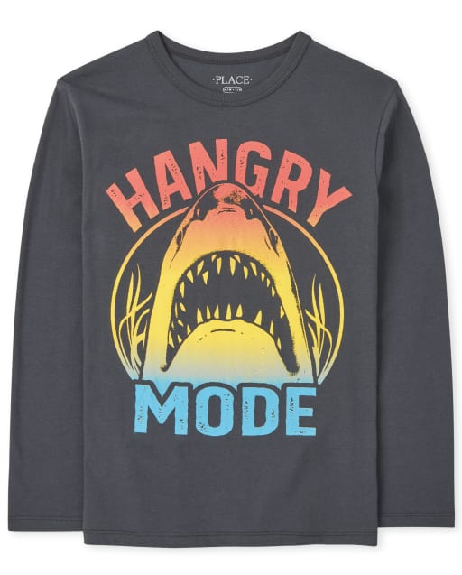 Boys Long Sleeve Hangry Mode Shark Graphic Tee