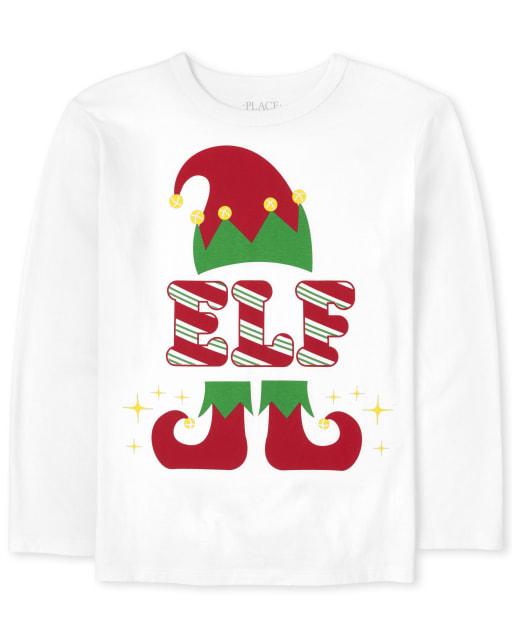 Boys Matching Family Long Sleeve Christmas Elf Graphic Tee