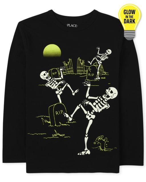 Camiseta de manga larga con estampado de baile de esqueleto de Halloween que brilla en la oscuridad para niños