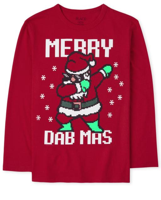 Boys Long Sleeve Christmas Dance Graphic Tee
