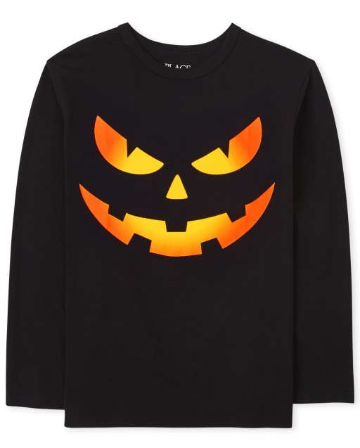 Boys Long Sleeve Halloween Pumpkin Face Graphic Tee