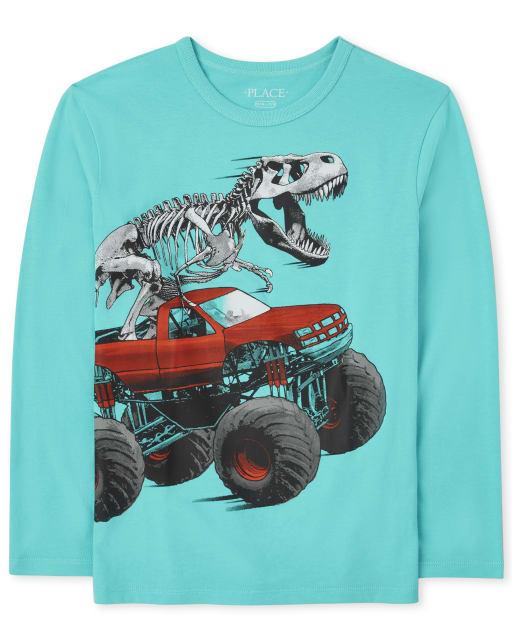Boys Long Sleeve Dinosaur Truck Graphic Tee