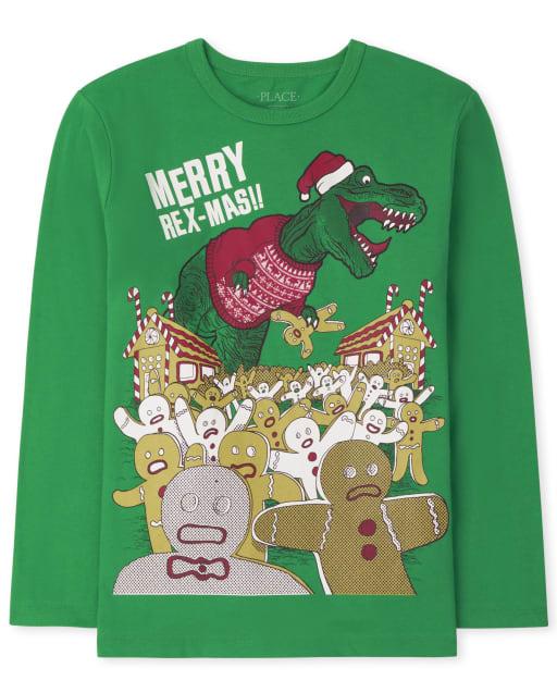 Boys Long Sleeve Christmas Dino Graphic Tee