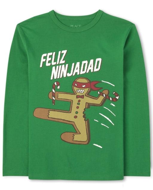 Boys Long Sleeve Christmas Feliz Ninjadad Graphic Tee