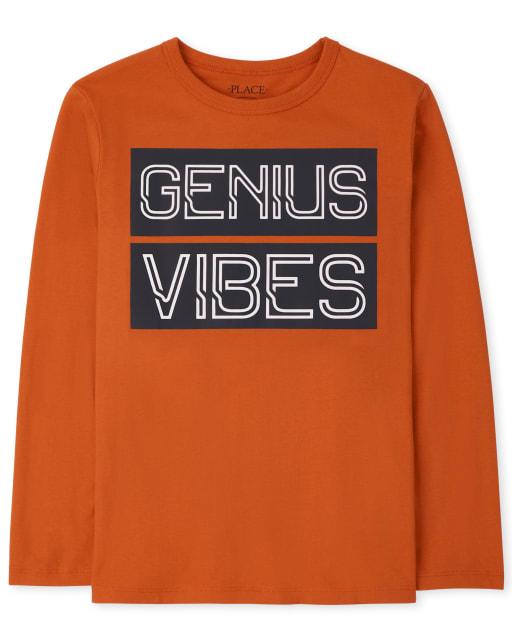 Boys Long Sleeve Genius Vibes Graphic Tee
