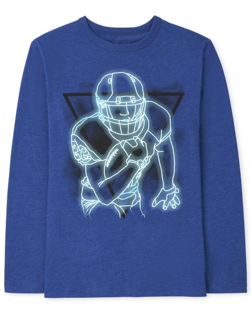 Boys Long Sleeve Neon Football Player Graphic Tee