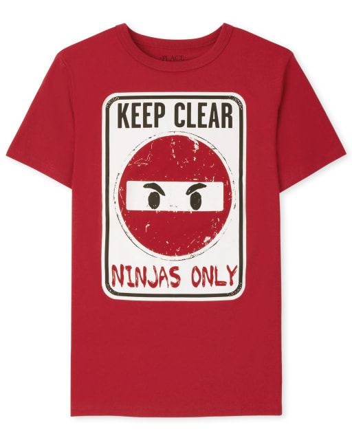 Boys Short Sleeve Ninjas Only Sign Graphic Tee