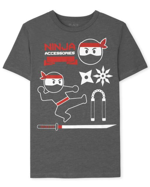 Boys Short Sleeve Ninja Accessories Graphic Tee