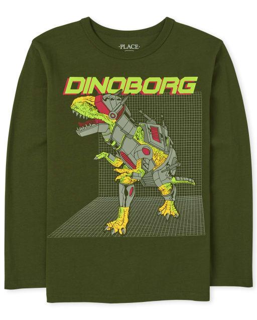 Boys Long Sleeve Dino Robot Graphic Tee