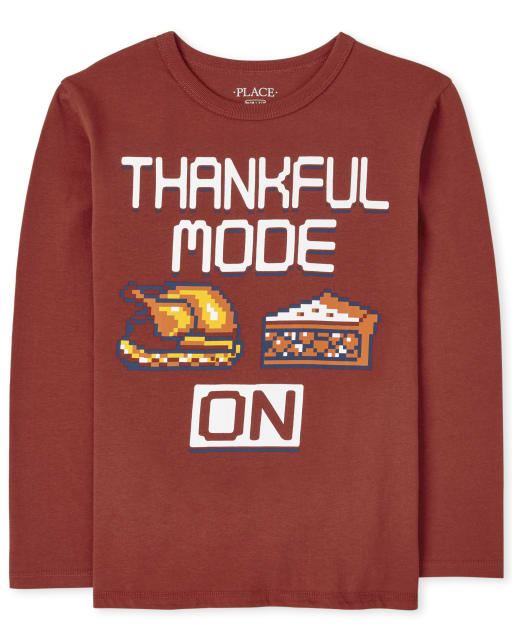 Boys Long Sleeve Thankful Mode Graphic Tee