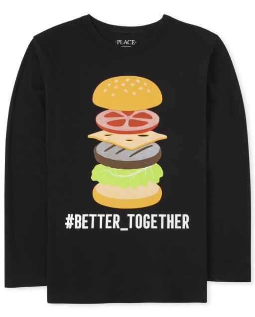 Boys Long Sleeve Burger Graphic Tee