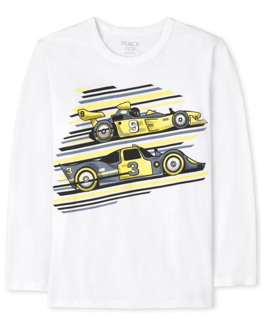 Boys Long Sleeve Race Car Graphic Tee