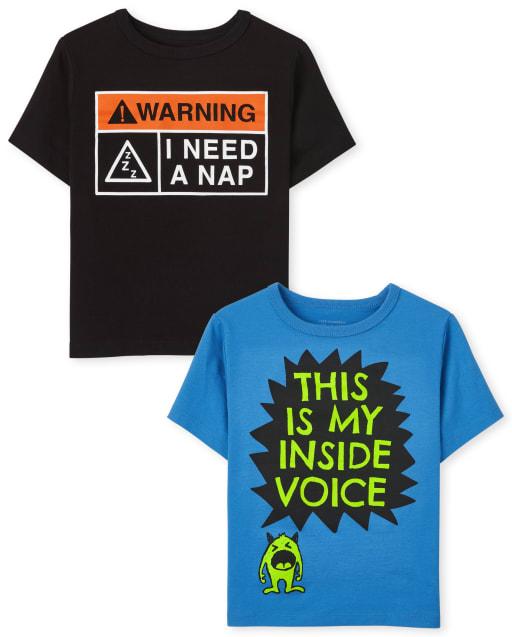 Paquete de 2 camisetas estampadas Sassy de manga corta para niños pequeños
