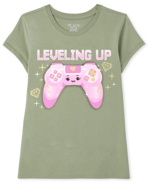 Girls Short Sleeve 'Leveling Up' Video Game Graphic Tee