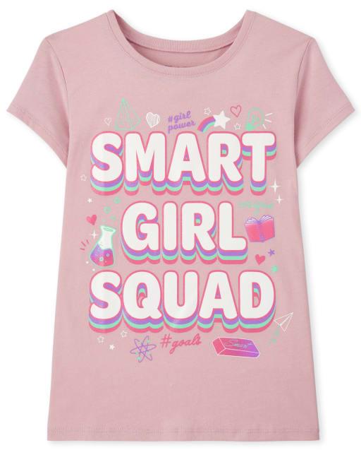 Girls Short Sleeve 'Smart Girl Squad' Graphic Tee
