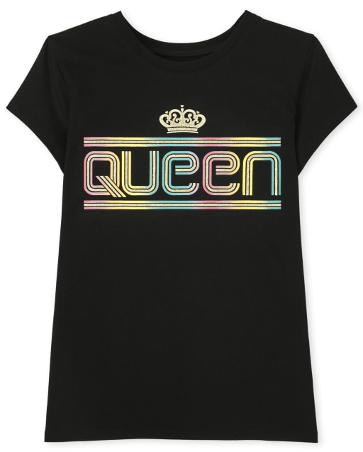 Girls Short Sleeve Queen Graphic Tee